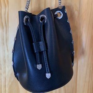 BLACK & SILVER LEATHERETTE PURSE/SHOULDER BAG